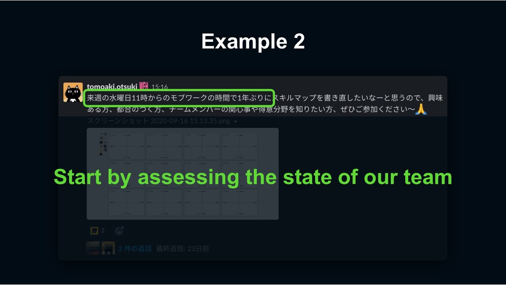 Example 2 Start by assessing the state of our t...