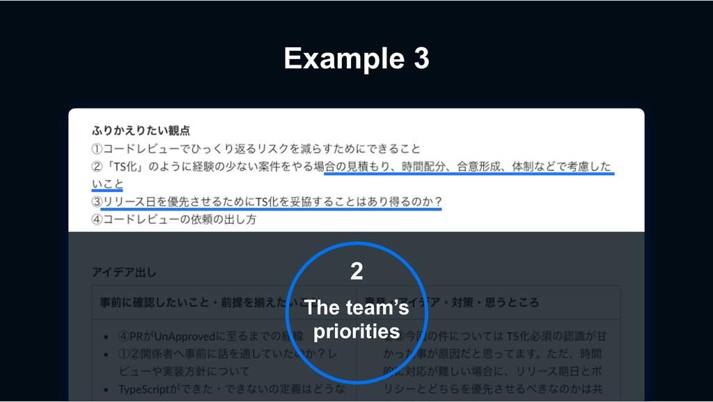 Example 3 2 The team's priorities
