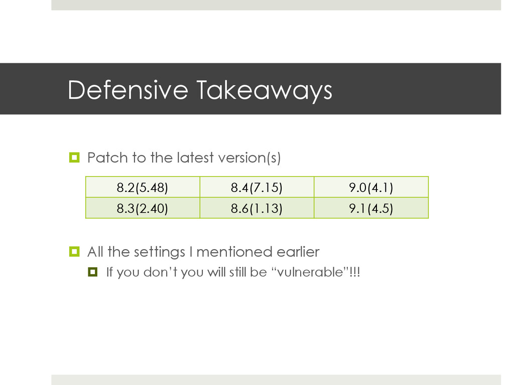 Defensive Takeaways ¤  Patch to the latest ver...