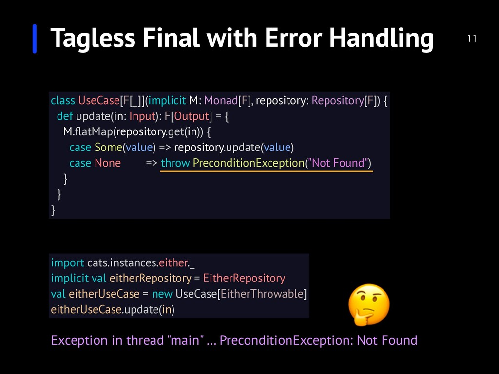 Tagless Final with Error Handling  import cat...