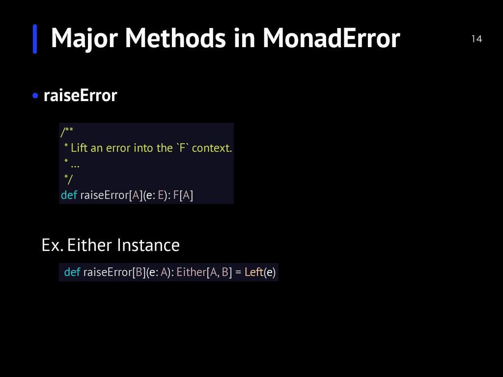 Major Methods in MonadError  • raiseError /**...