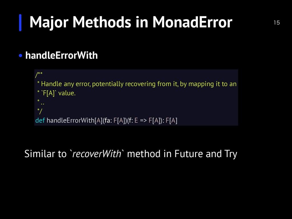 Major Methods in MonadError  • handleErrorWit...