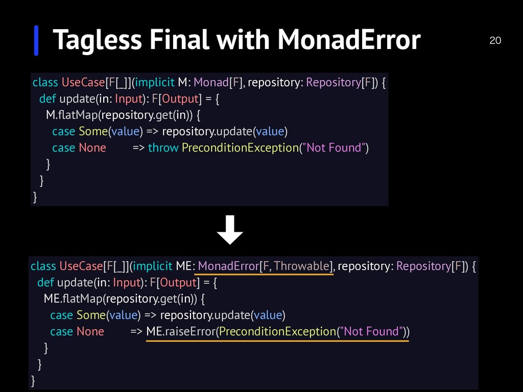 Tagless Final with MonadError class UseCase[...