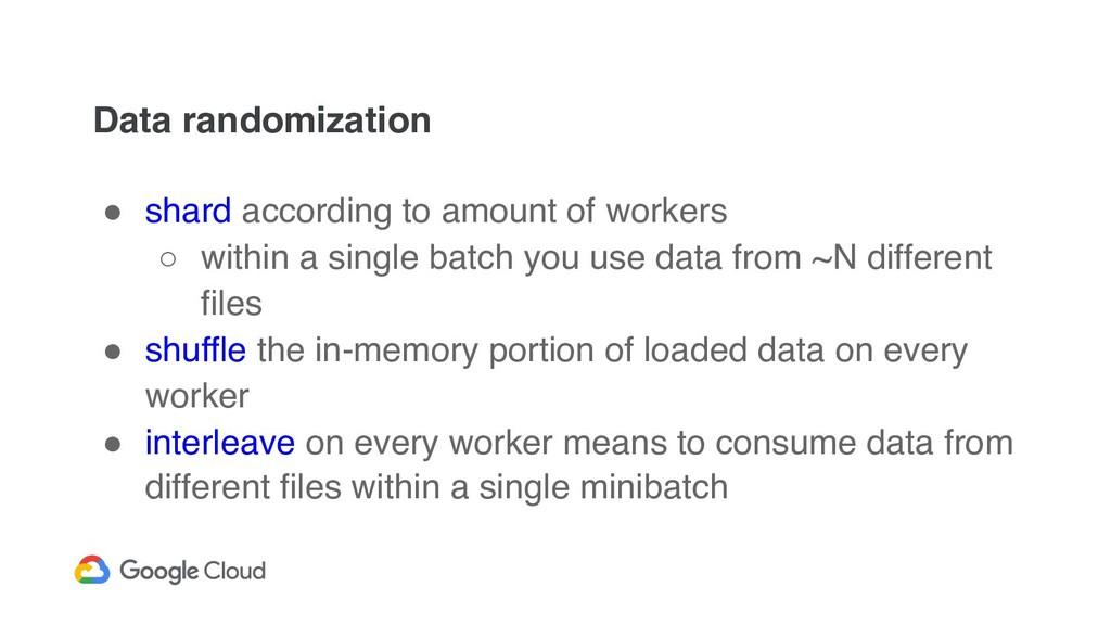 Data randomization ! shard according to amount ...