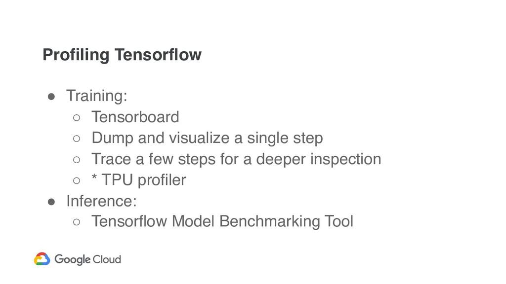 Profiling Tensorflow ! Training: ○ Tensorboard ...