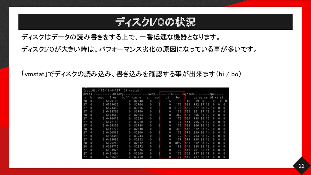 ディスクI/Oの状況 22 ディスクはデータの読み書きをする上で、一番低速な機器となります...