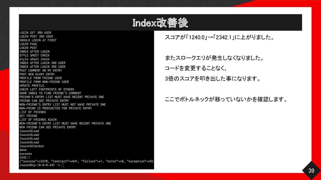 Index改善後 39 スコアが「1240.0」→「2342.1」に上がりました。  ...