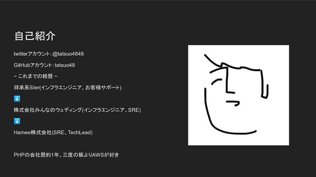 自己紹介 twitterアカウント:@tatsuo4848 GitHubアカウント:tatsu...