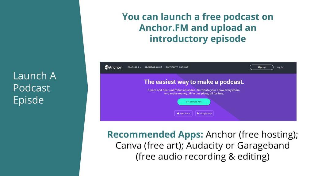 Launch A Podcast Episde You can launch a free p...