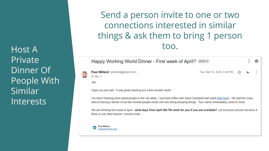 Host A Private Dinner Of People With Similar In...