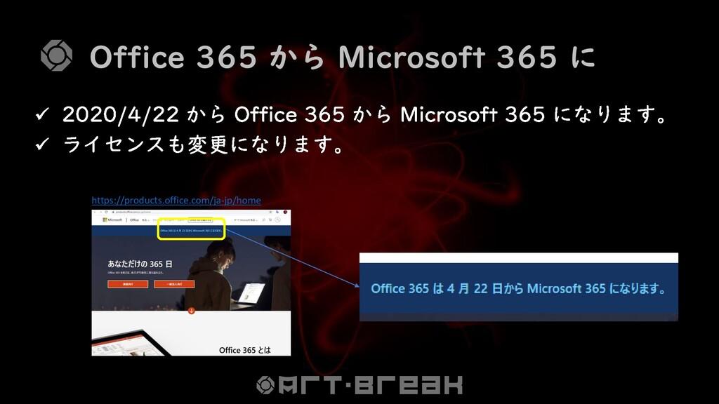 Office 365 から Microsoft 365 に https://products....