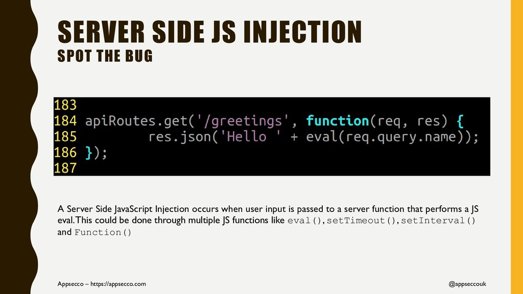 SERVER SIDE JS INJECTION SPOT THE BUG Appsecco ...