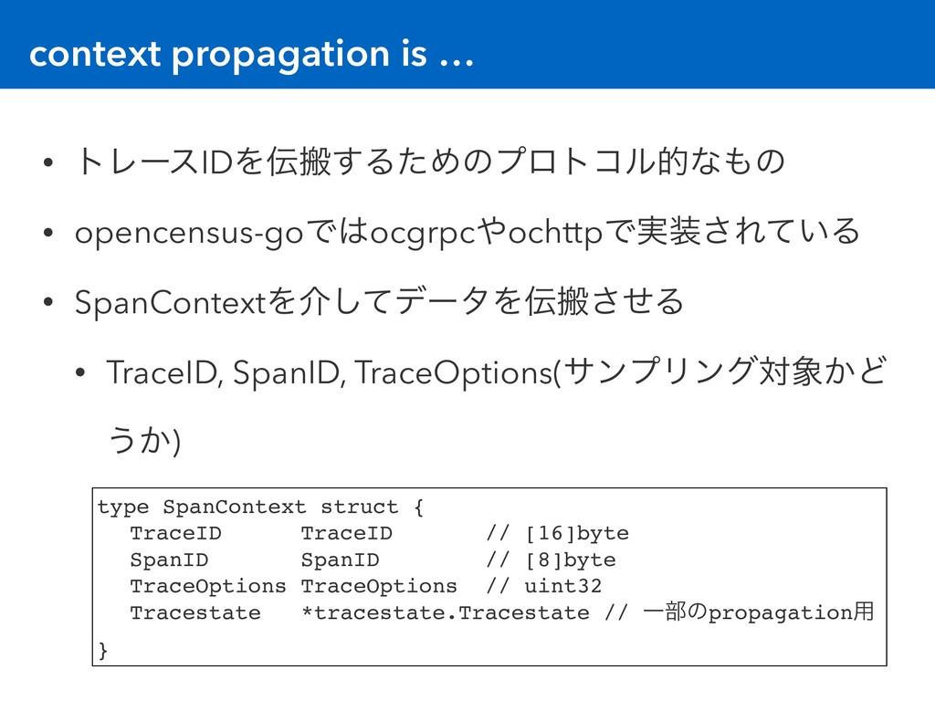 context propagation is … • τϨʔεIDΛൖ͢ΔͨΊͷϓϩτίϧత...
