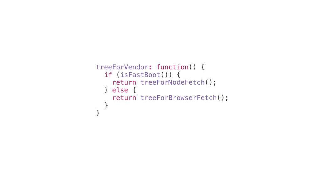 treeForVendor: function() { if (isFastBoot()) {...