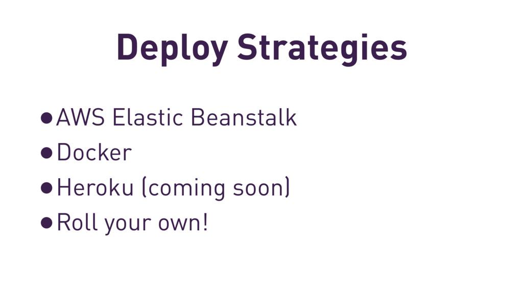Deploy Strategies •AWS Elastic Beanstalk •Docke...