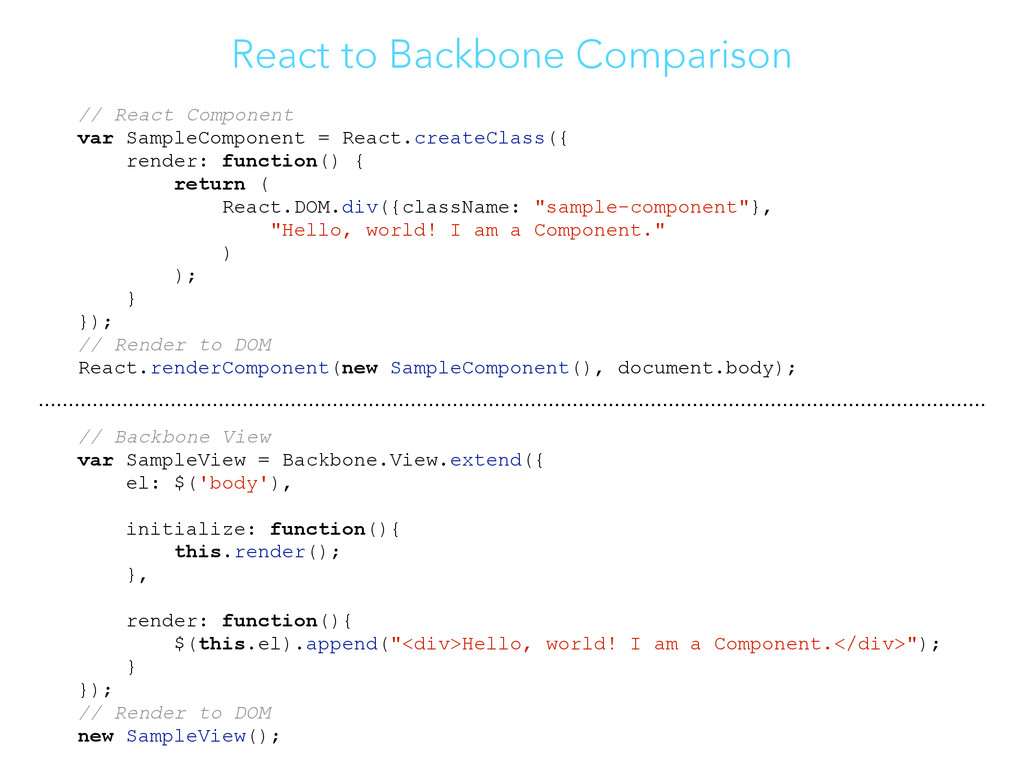 React to Backbone Comparison // React Component...