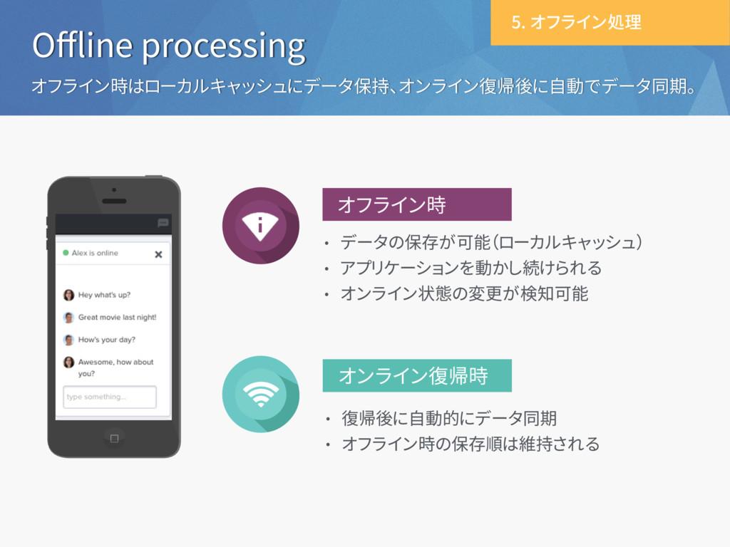 Offline processing オフライン時はローカルキャッシュにデータ保持、オンライン復...