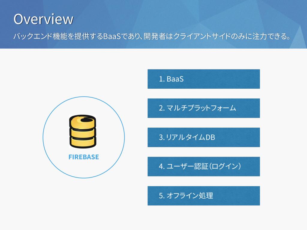2. マルチプラットフォーム Overview 1. BaaS FIREBASE バックエンド...