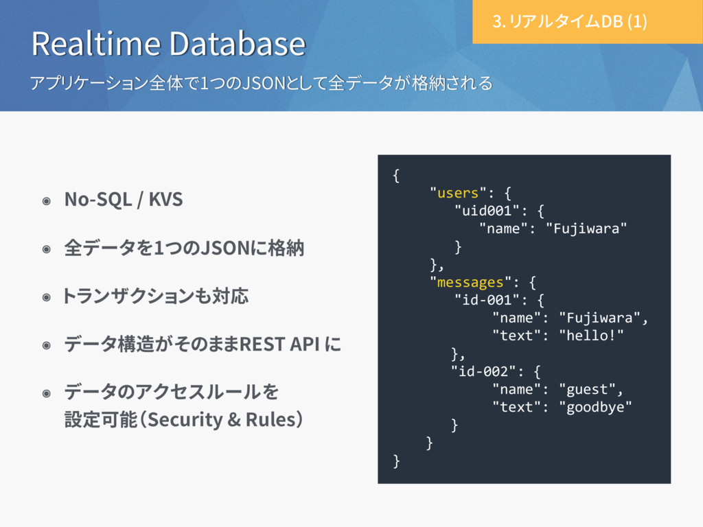Realtime Database アプリケーション全体で1つのJSONとして全データが格納さ...