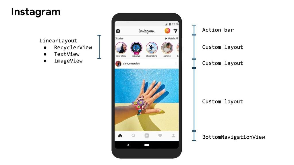 Instagram Action bar Custom layout Custom layou...