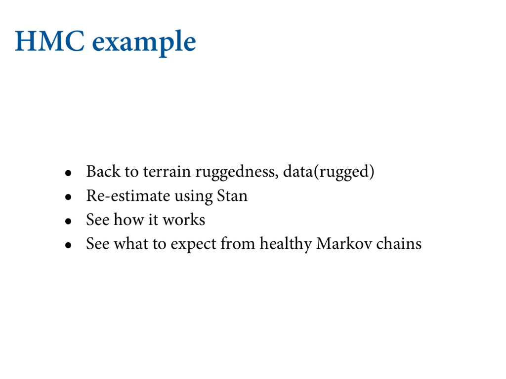HMC example • Back to terrain ruggedness, data(...