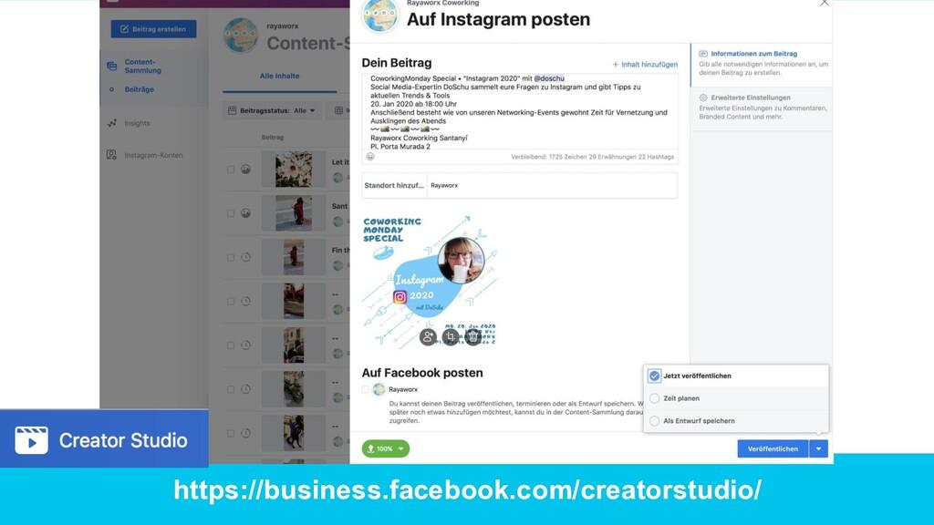 https://business.facebook.com/creatorstudio/