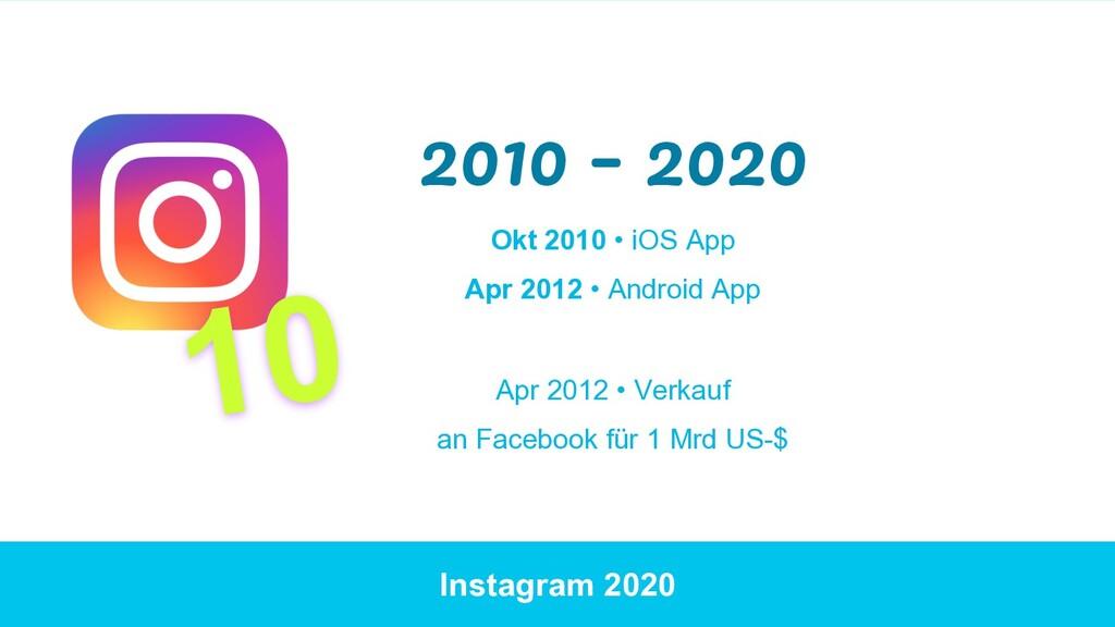 Instagram 2020 2010 – 2020 Okt 2010 • iOS App A...
