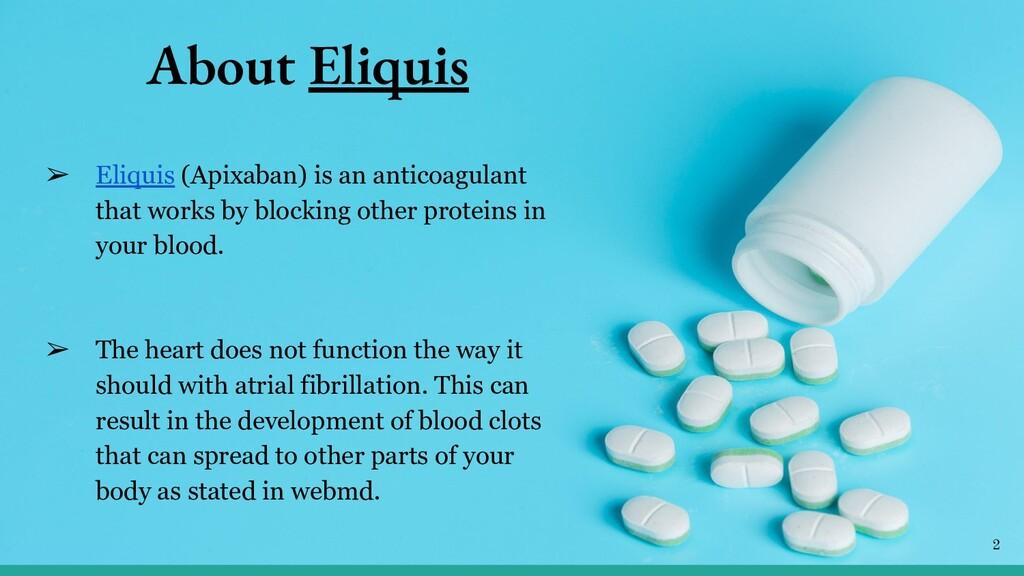 About Eliquis ➢ Eliquis (Apixaban) is an antico...