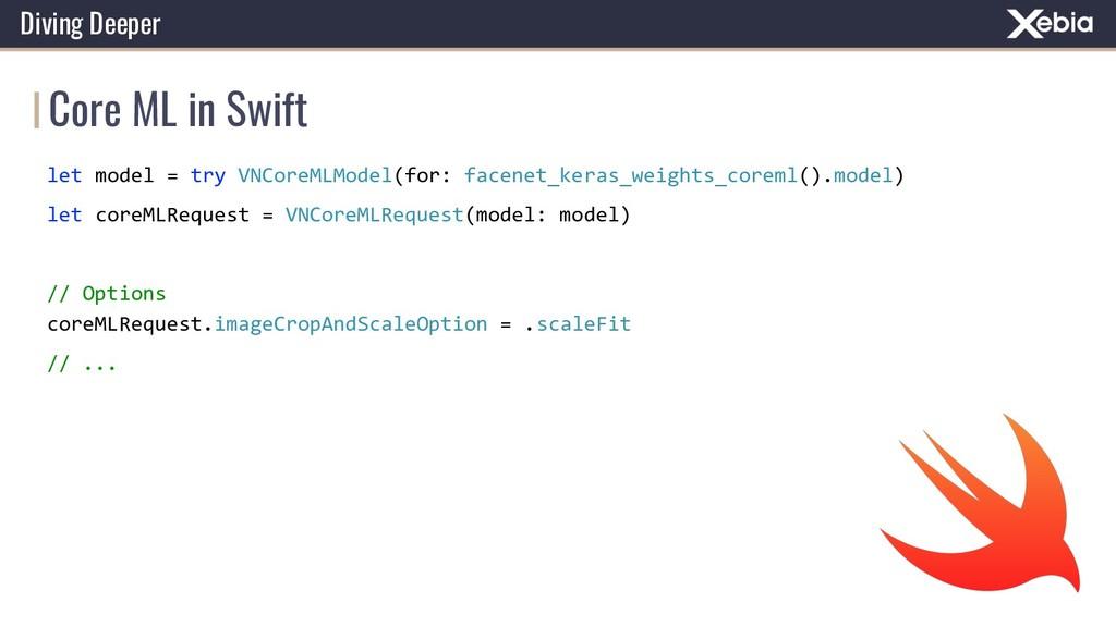 Core ML in Swift Diving Deeper let model = try ...