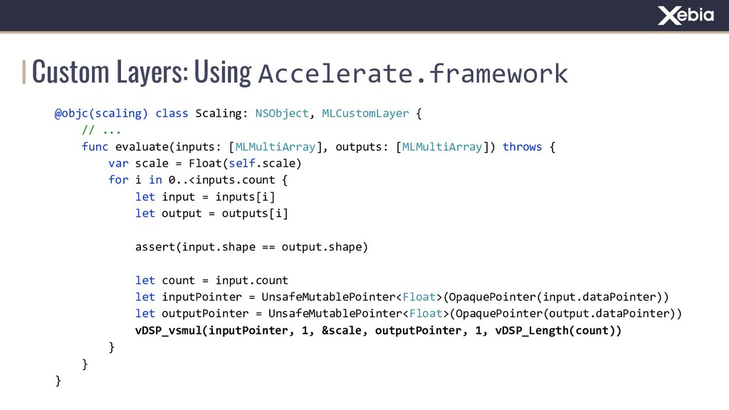 Custom Layers: Using Accelerate.framework @objc...