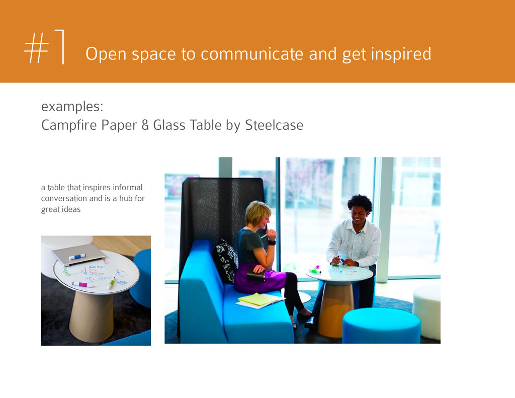 #1 Open space to communicate and get inspired e...
