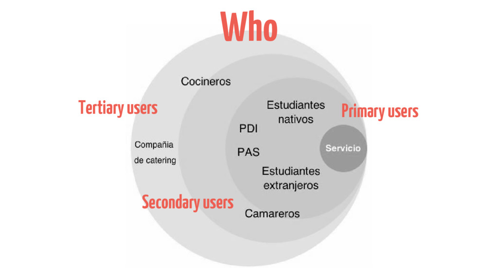Who Primary users Secondary users Tertiary users
