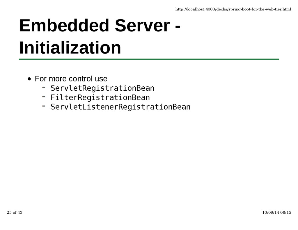 Embedded Server - Initialization For more contr...