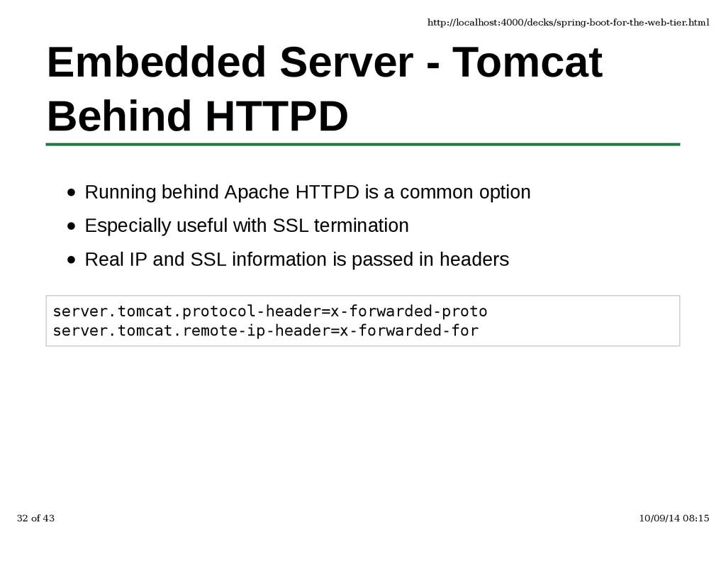 Embedded Server - Tomcat Behind HTTPD Running b...