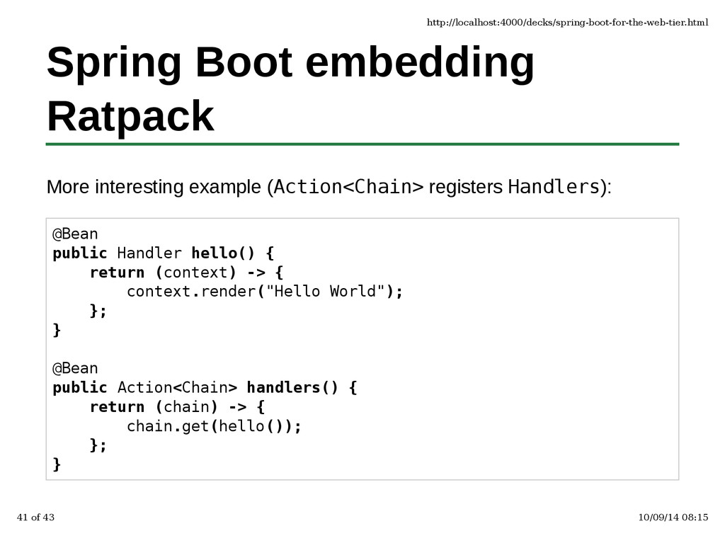 Spring Boot embedding Ratpack More interesting ...