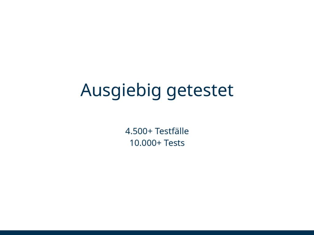 Ausgiebig getestet 4.500+ Testfälle 10.000+ Tes...