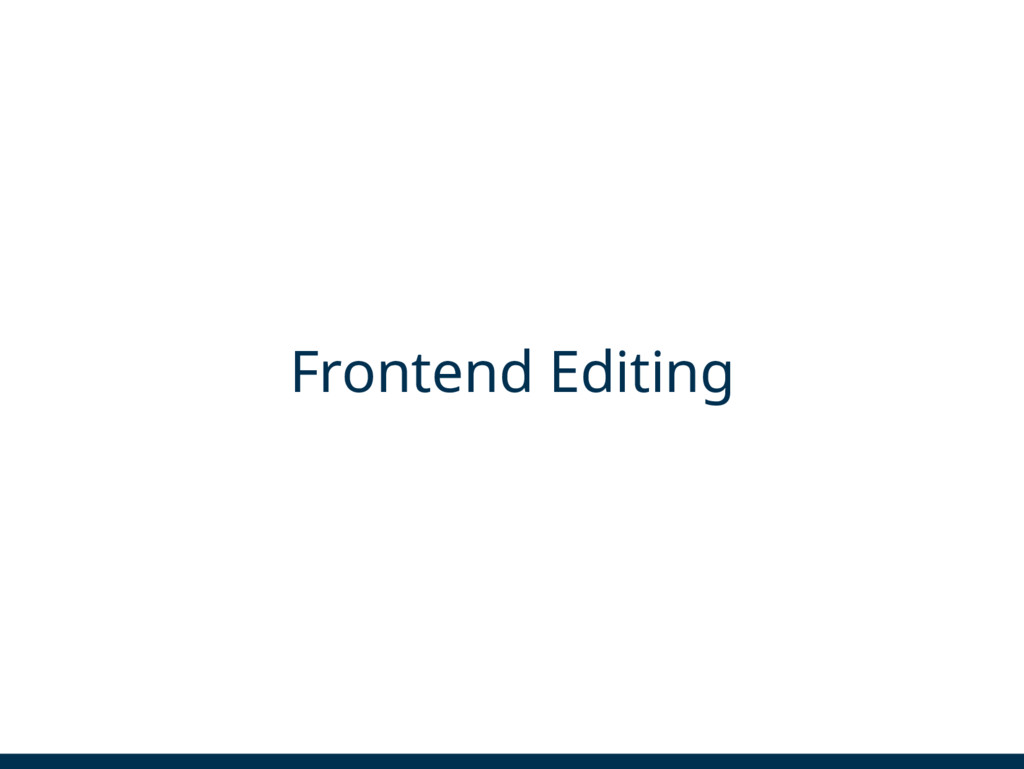 Frontend Editing