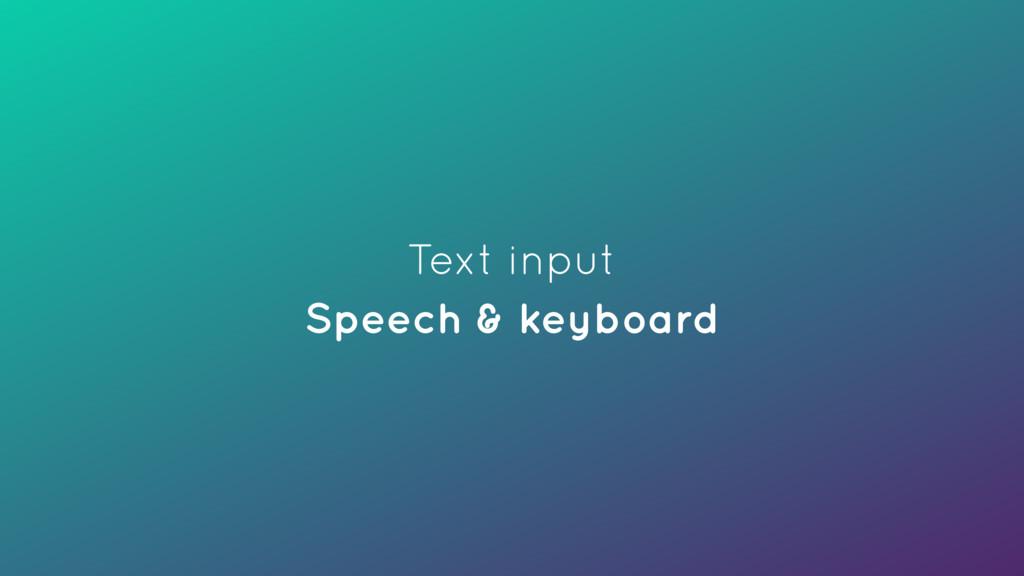 Text input Speech & keyboard