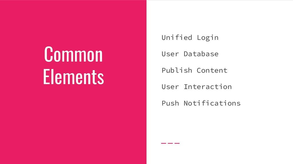 Common Elements Unified Login User Database Pub...