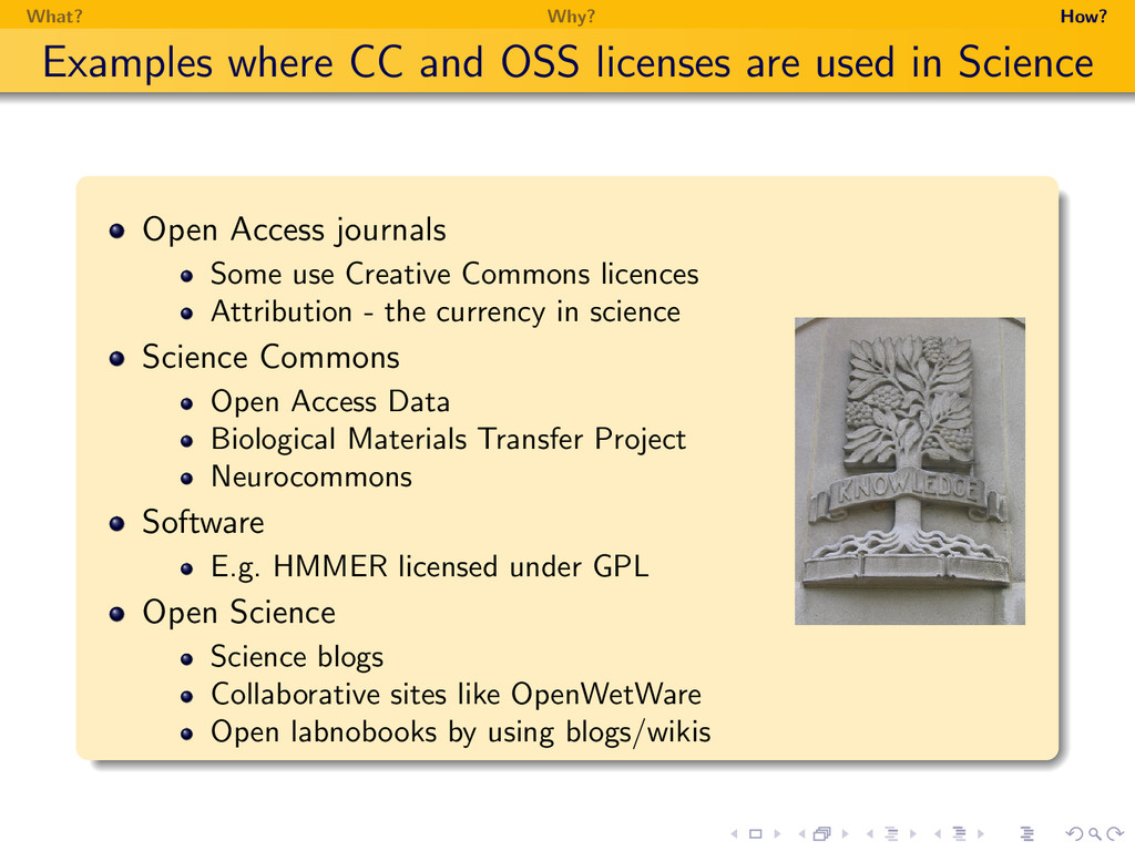 What? Why? How? Examples where CC and OSS licen...