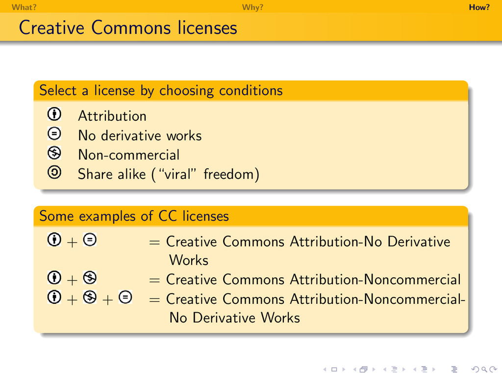 What? Why? How? Creative Commons licenses Selec...