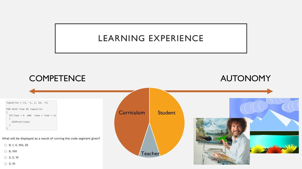 LEARNING EXPERIENCE AUTONOMY COMPETENCE Curricu...