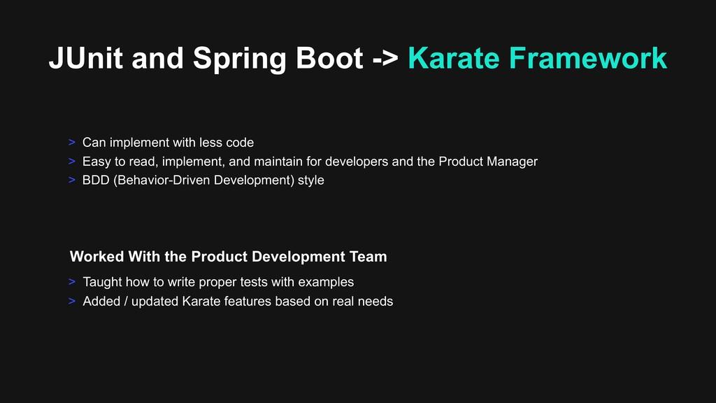 JUnit and Spring Boot -> Karate Framework > Tau...