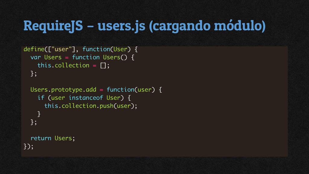 RequireJS – users.js (cargando módulo)