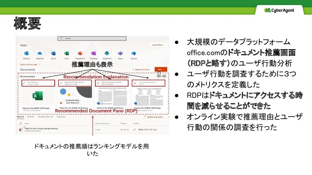 概要 ● 大規模のデータプラットフォーム office.comのドキュメント推薦画面 (RD...