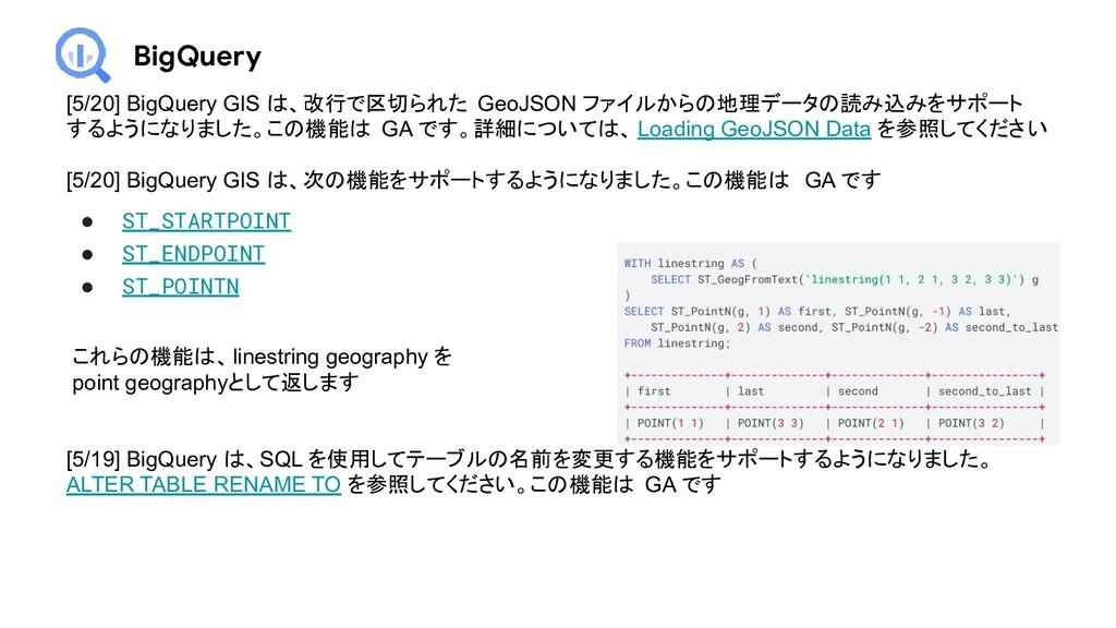 BigQuery [5/20] BigQuery GIS は、改行で区切られた GeoJSON...