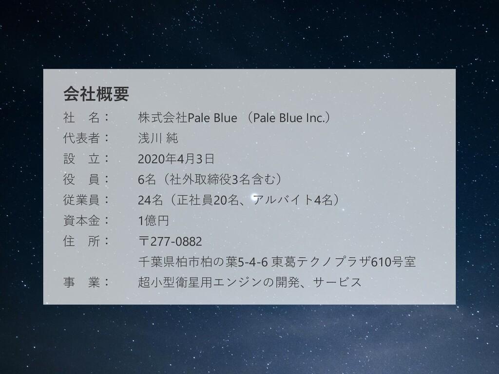 会社概要 社 名: 株式会社Pale Blue (Pale Blue Inc.) 代表者: 浅...