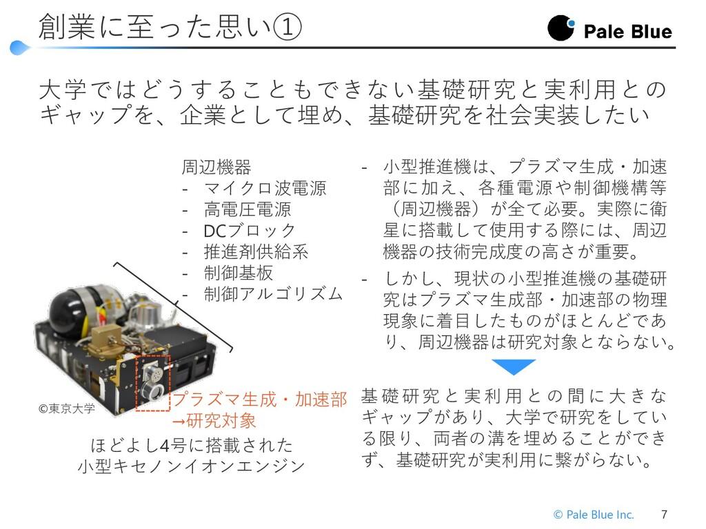 創業に至った思い② © Pale Blue Inc. 7 研究・人材育成→開発→実用化→収益化...