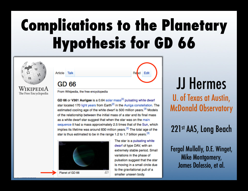 Complications to the Planetary Hypothesis for G...